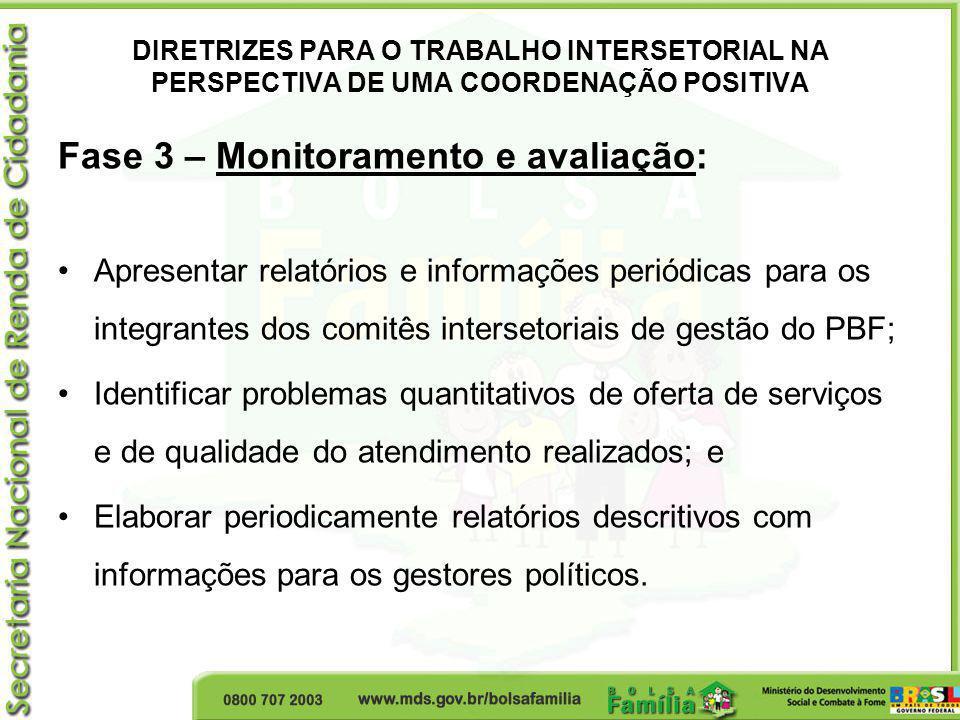 DIRETRIZES PARA O TRABALHO INTERSETORIAL NA PERSPECTIVA DE UMA COORDENAÇÃO POSITIVA Fase 3 – Monitoramento e avaliação: Apresentar relatórios e inform