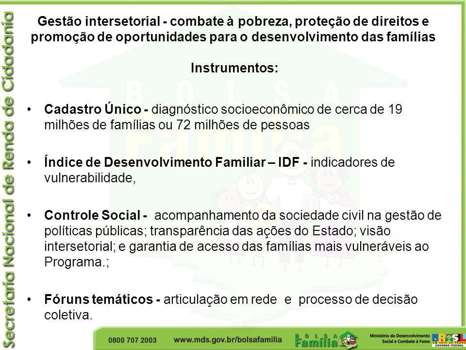 Gestão intersetorial - combate à pobreza, proteção de direitos e promoção de oportunidades para o desenvolvimento das famílias Instrumentos: Cadastro