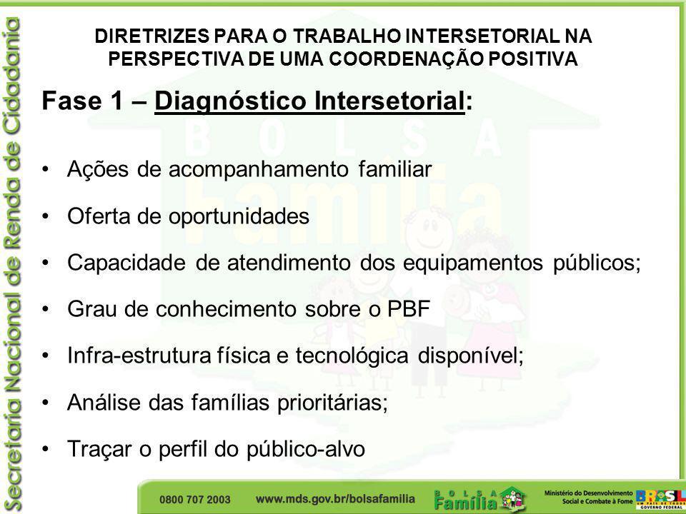 DIRETRIZES PARA O TRABALHO INTERSETORIAL NA PERSPECTIVA DE UMA COORDENAÇÃO POSITIVA Fase 1 – Diagnóstico Intersetorial: Ações de acompanhamento famili