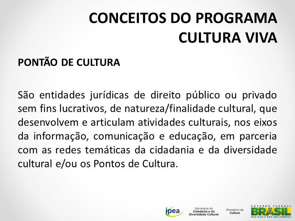 PONTÃO DE CULTURA São entidades jurídicas de direito público ou privado sem fins lucrativos, de natureza/finalidade cultural, que desenvolvem e articulam atividades culturais, nos eixos da informação, comunicação e educação, em parceria com as redes temáticas da cidadania e da diversidade cultural e/ou os Pontos de Cultura.