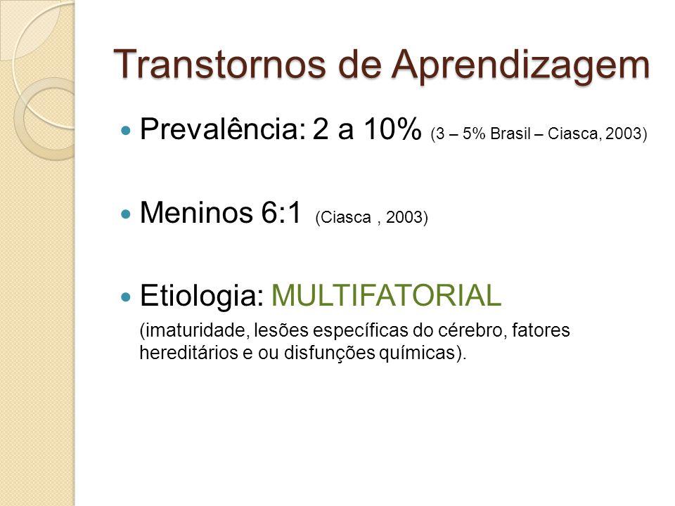 Transtornos de Aprendizagem Prevalência: 2 a 10% (3 – 5% Brasil – Ciasca, 2003) Meninos 6:1 (Ciasca, 2003) Etiologia: MULTIFATORIAL (imaturidade, lesões específicas do cérebro, fatores hereditários e ou disfunções químicas).