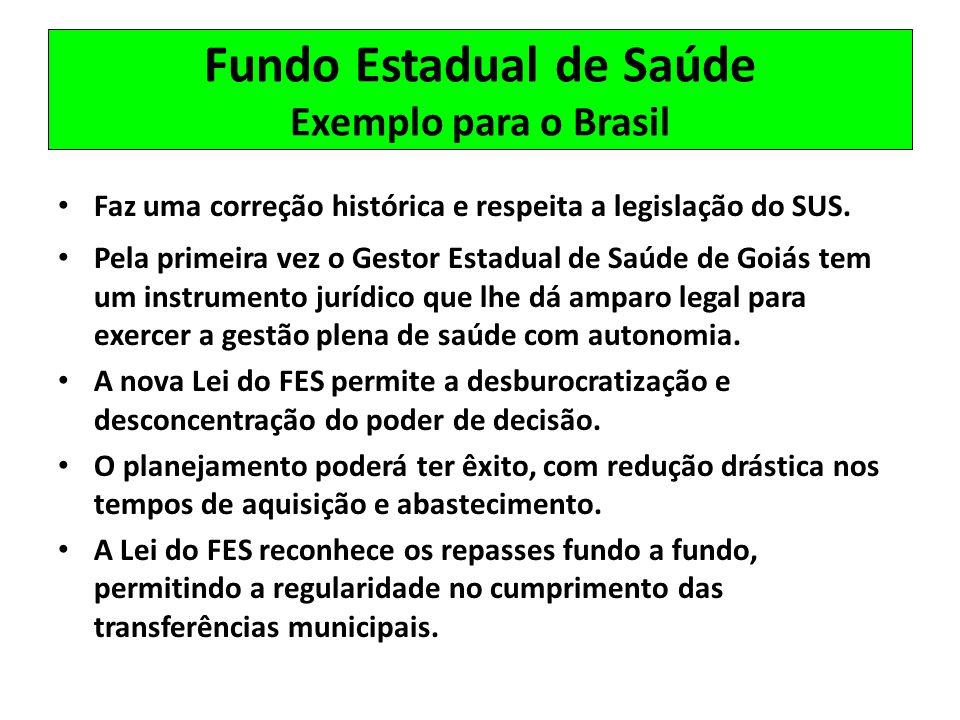 Fundo Estadual de Saúde Exemplo para o Brasil Faz uma correção histórica e respeita a legislação do SUS. Pela primeira vez o Gestor Estadual de Saúde