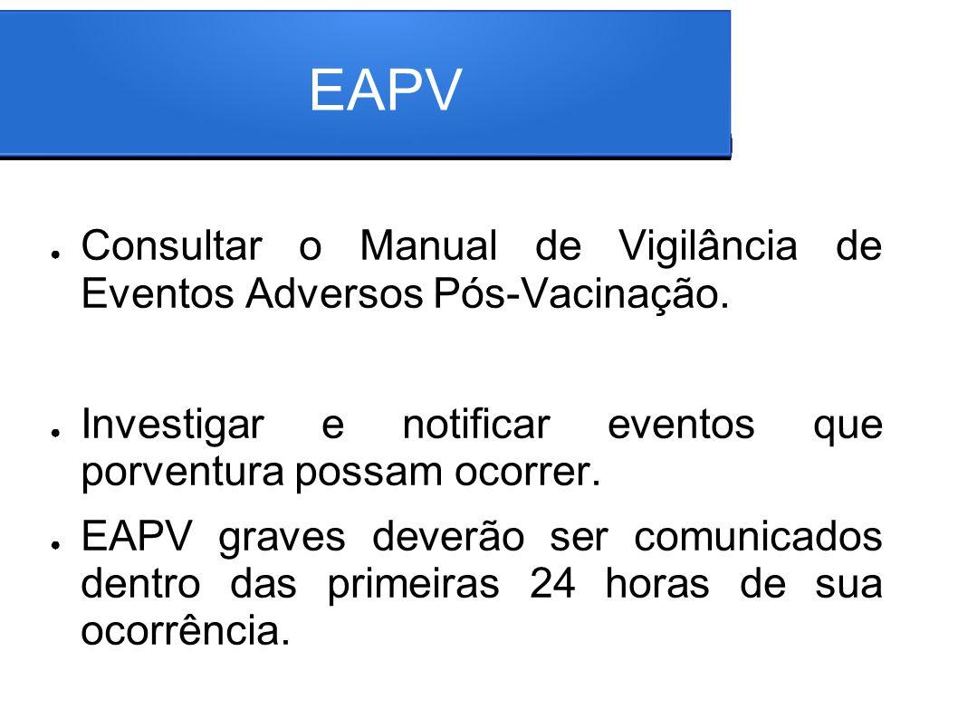EAPV Consultar o Manual de Vigilância de Eventos Adversos Pós-Vacinação. Investigar e notificar eventos que porventura possam ocorrer. EAPV graves dev