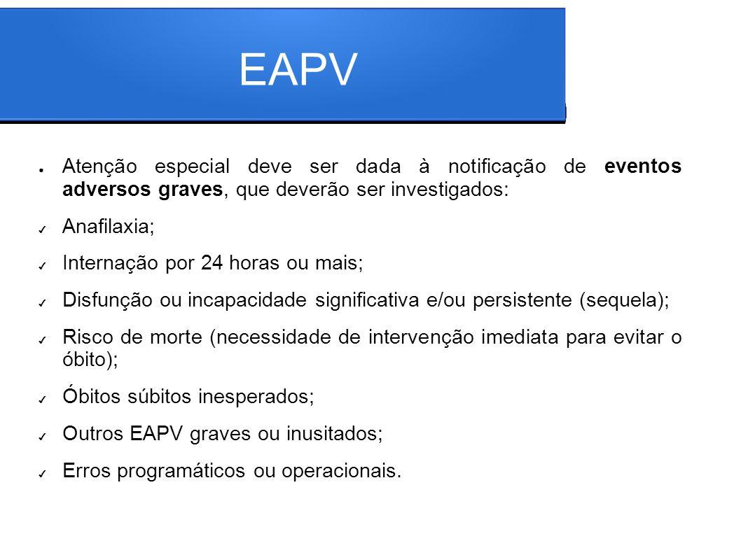 EAPV Atenção especial deve ser dada à notificação de eventos adversos graves, que deverão ser investigados: Anafilaxia; Internação por 24 horas ou mai