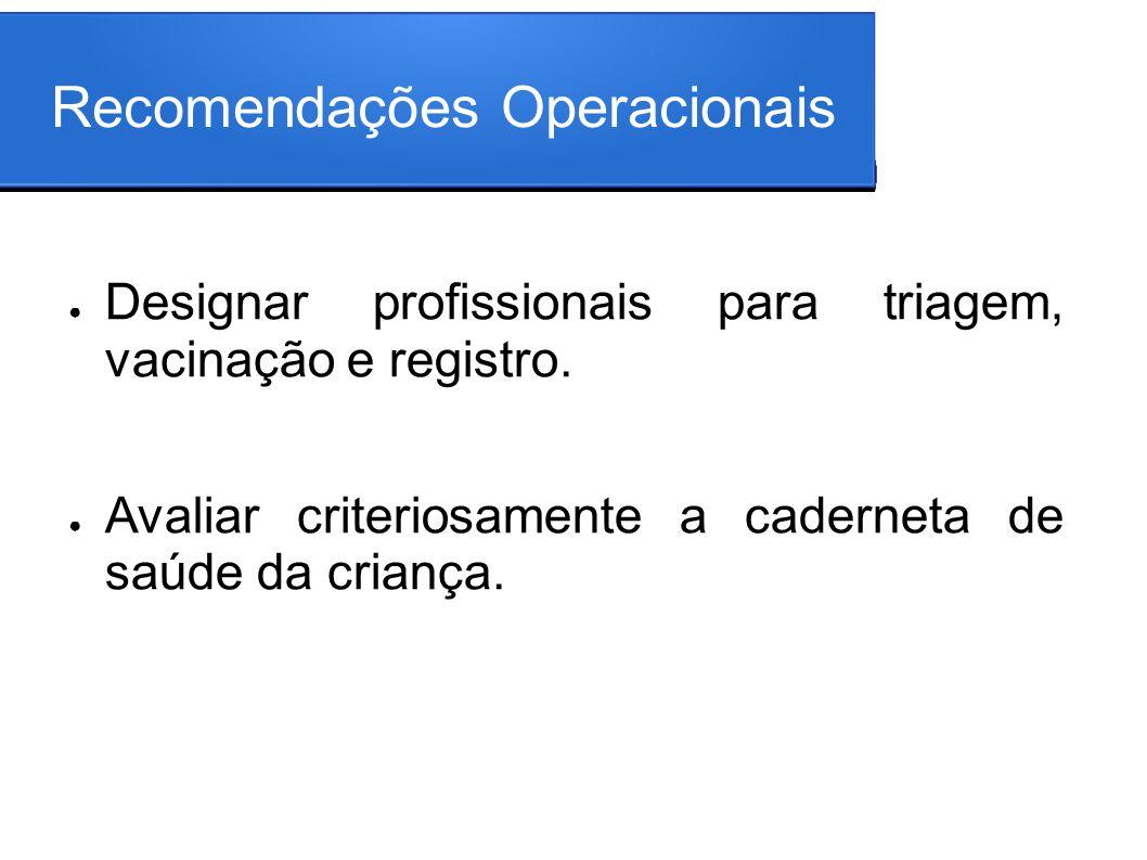 Recomendações Operacionais Designar profissionais para triagem, vacinação e registro. Avaliar criteriosamente a caderneta de saúde da criança.
