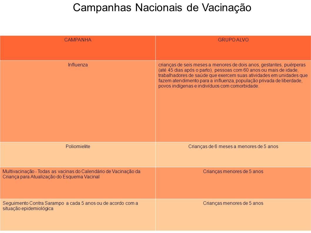Campanhas Nacionais de Vacinação CAMPANHAGRUPO ALVO Influenzacrianças de seis meses a menores de dois anos, gestantes, puérperas (até 45 dias após o p