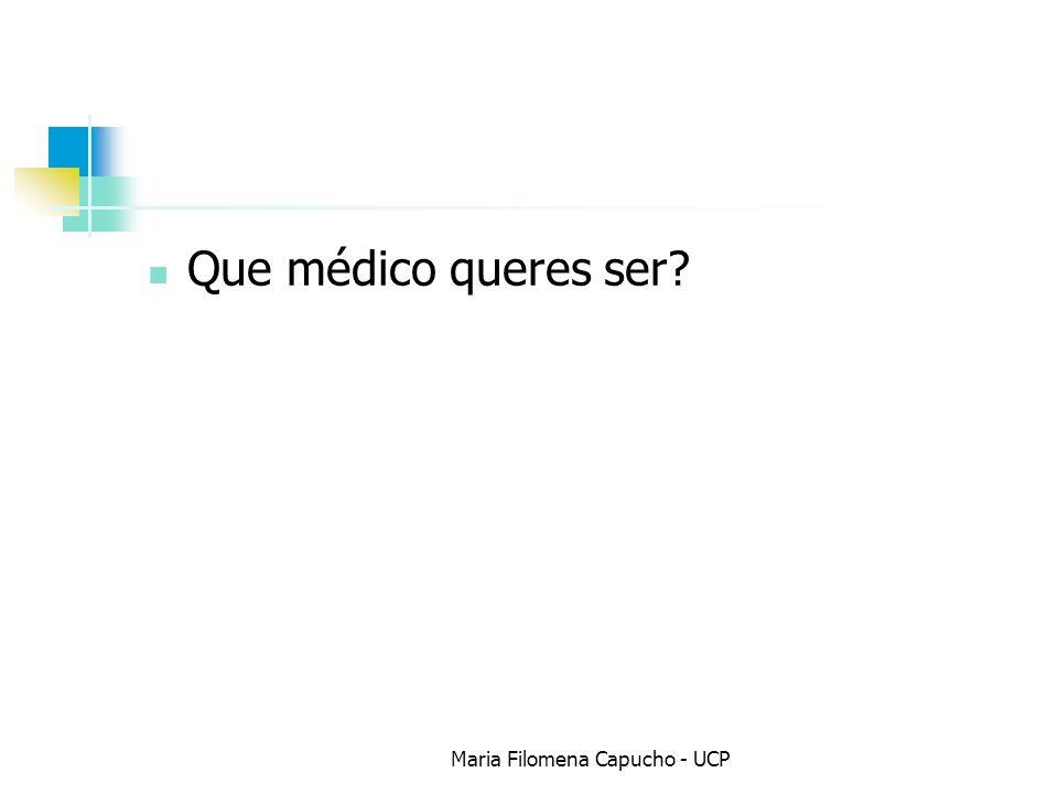 Que médico queres ser? Maria Filomena Capucho - UCP