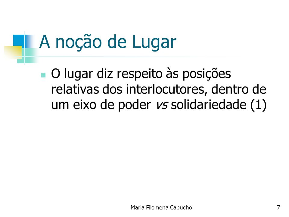 A noção de Lugar O lugar diz respeito às posições relativas dos interlocutores, dentro de um eixo de poder vs solidariedade (1) Maria Filomena Capucho