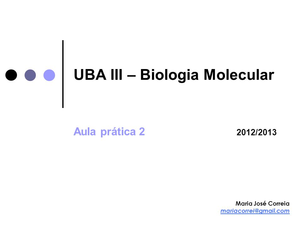 UBA III – Biologia Molecular Aula prática 2 2012/2013 Maria José Correia mariacorrei@gmail.com