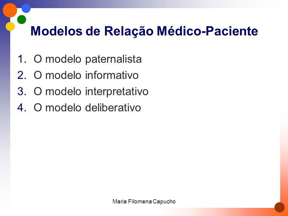 Modelos de Relação Médico-Paciente 1.O modelo paternalista 2.O modelo informativo 3.O modelo interpretativo 4.O modelo deliberativo Maria Filomena Cap