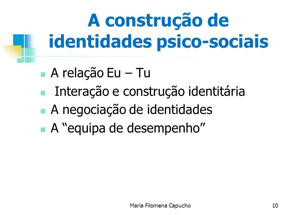 Maria Filomena Capucho10 A construção de identidades psico-sociais A relação Eu – Tu Interação e construção identitária A negociação de identidades A equipa de desempenho