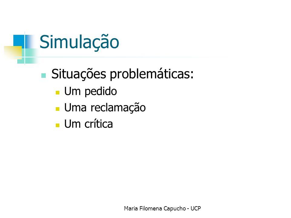 Simulação Situações problemáticas: Um pedido Uma reclamação Um crítica Maria Filomena Capucho - UCP