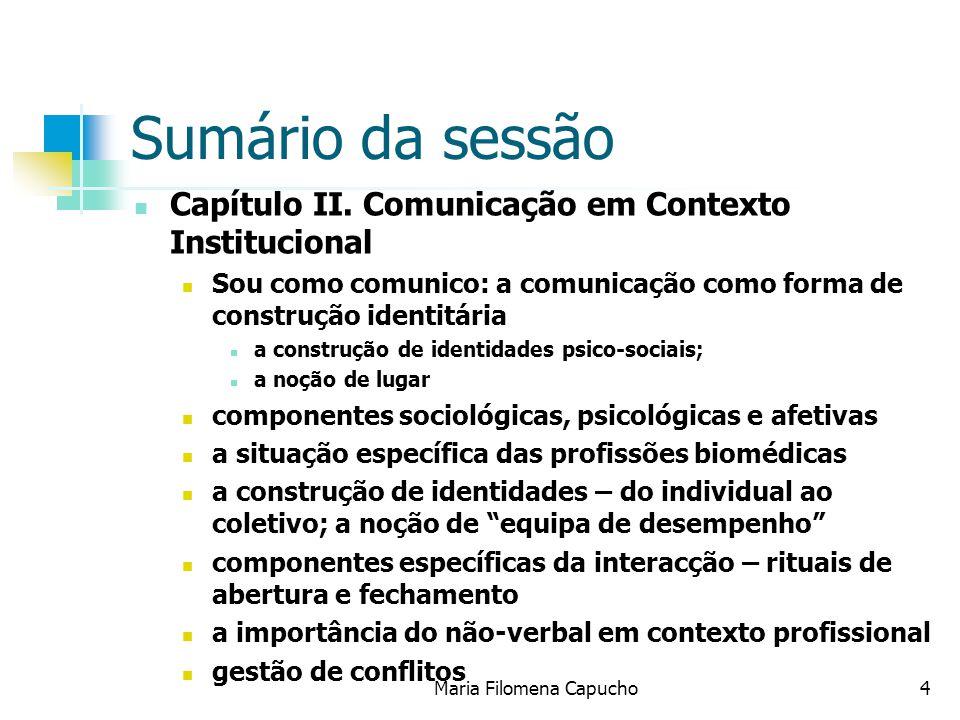 Maria Filomena Capucho4 Sumário da sessão Capítulo II. Comunicação em Contexto Institucional Sou como comunico: a comunicação como forma de construção