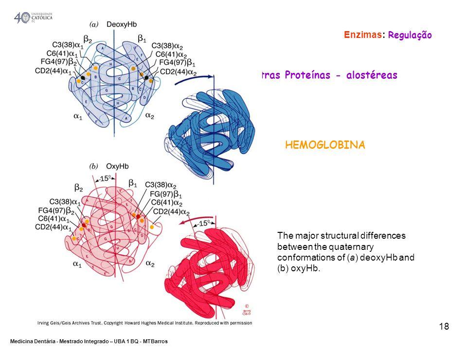 DEPARTAMENTO DE CIÊNCIAS DA SAÚDE Medicina Dentária - Mestrado Integrado – UBA 1 BQ - MTBarros 18 Outras Proteínas - alostéreas HEMOGLOBINA Enzimas: R