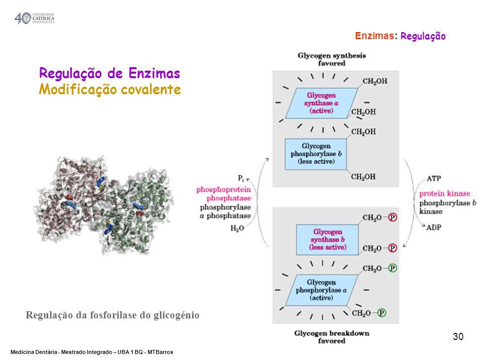 DEPARTAMENTO DE CIÊNCIAS DA SAÚDE Medicina Dentária - Mestrado Integrado – UBA 1 BQ - MTBarros 30 Regulação da fosforilase do glicogénio Regulação de