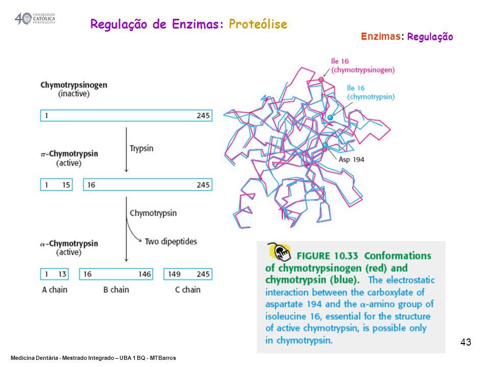 DEPARTAMENTO DE CIÊNCIAS DA SAÚDE Medicina Dentária - Mestrado Integrado – UBA 1 BQ - MTBarros 43 Enzimas: Regulação Regulação de Enzimas: Proteólise