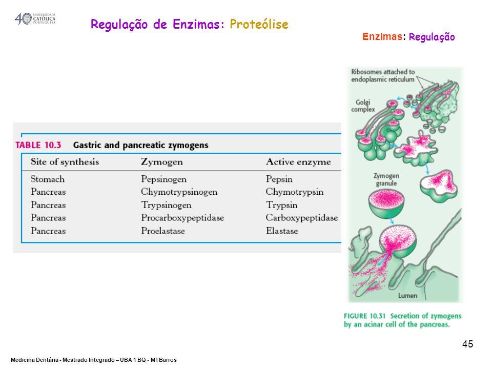 DEPARTAMENTO DE CIÊNCIAS DA SAÚDE Medicina Dentária - Mestrado Integrado – UBA 1 BQ - MTBarros 45 Enzimas: Regulação Regulação de Enzimas: Proteólise