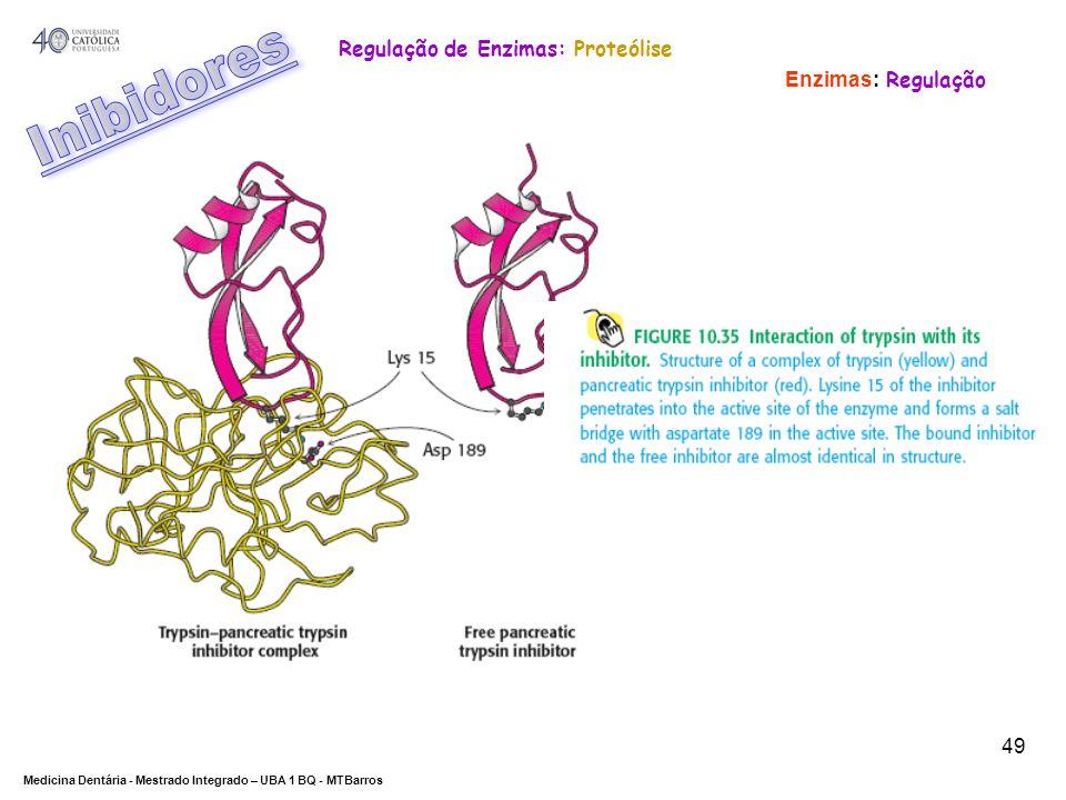 DEPARTAMENTO DE CIÊNCIAS DA SAÚDE Medicina Dentária - Mestrado Integrado – UBA 1 BQ - MTBarros 49 Enzimas: Regulação Regulação de Enzimas: Proteólise