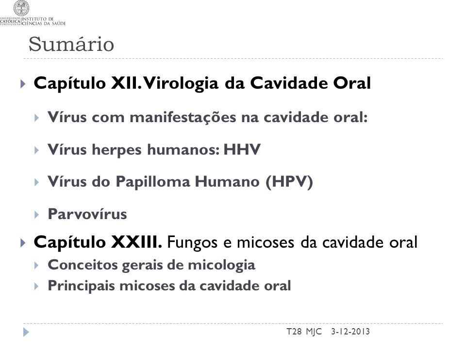 Sumário T28 MJC Capítulo XII. Virologia da Cavidade Oral Vírus com manifestações na cavidade oral: Vírus herpes humanos: HHV Vírus do Papilloma Humano