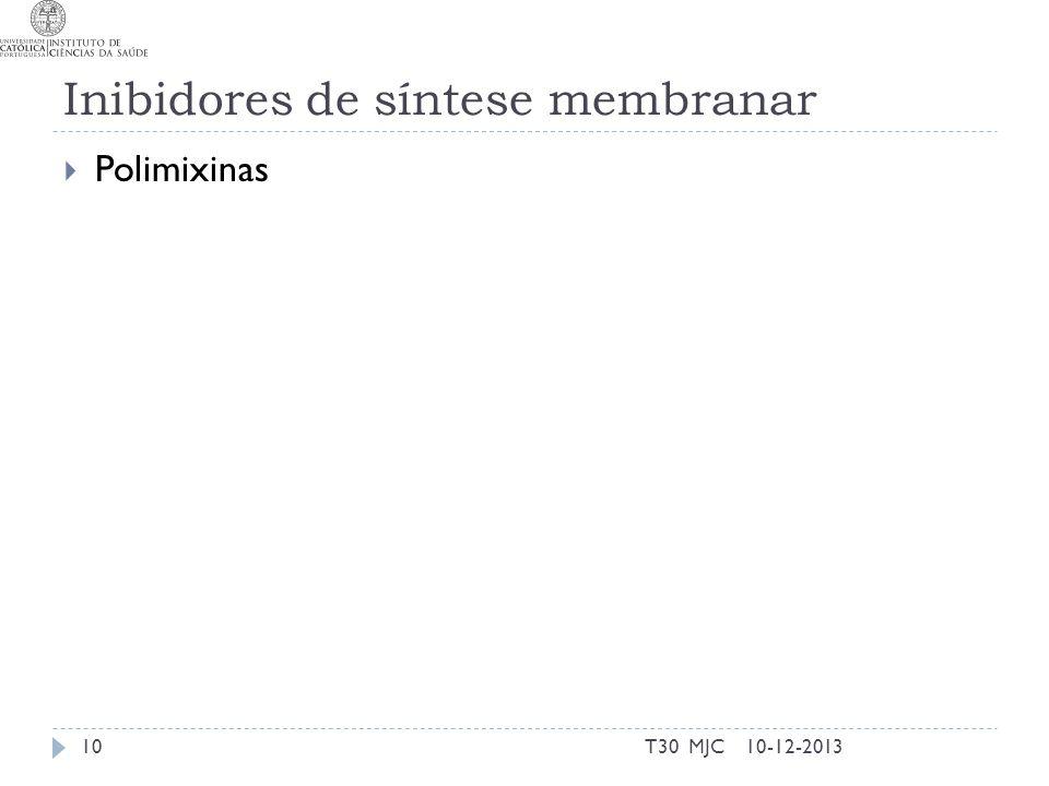 Inibidores de síntese membranar Polimixinas 10-12-2013T30 MJC10