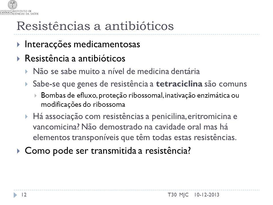 Resistências a antibióticos Interacções medicamentosas Resistência a antibióticos Não se sabe muito a nível de medicina dentária Sabe-se que genes de