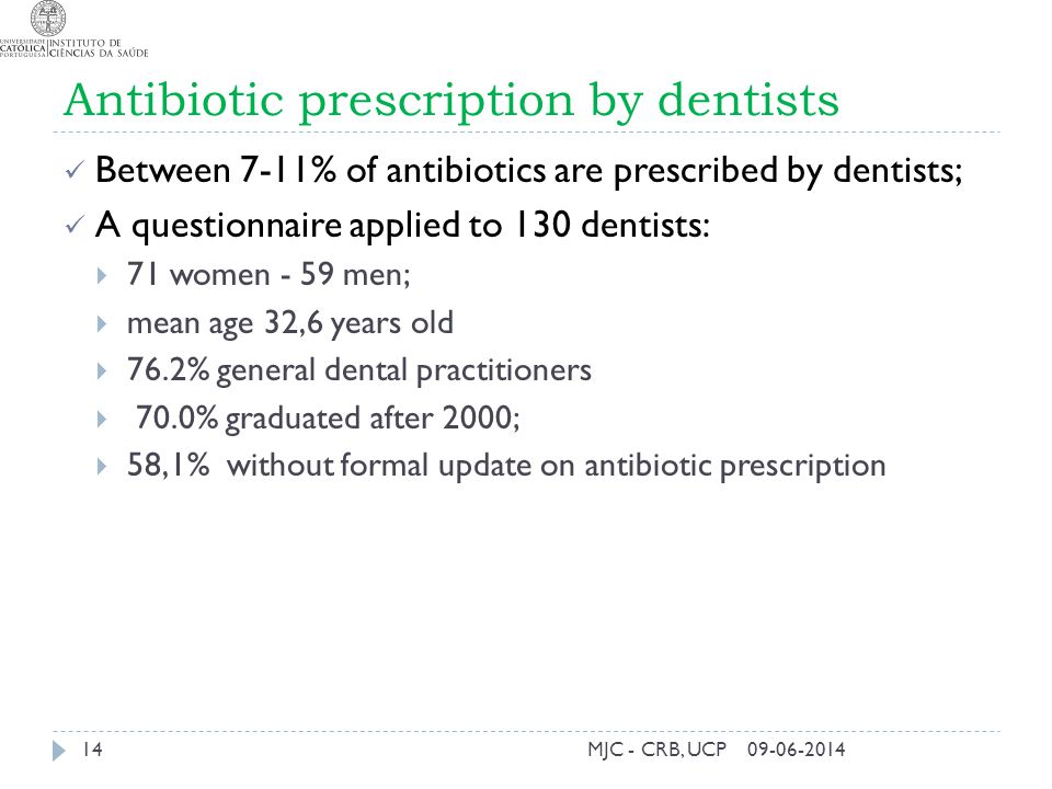 Antibiotic prescription by dentists Between 7-11% of antibiotics are prescribed by dentists; A questionnaire applied to 130 dentists: 71 women - 59 me