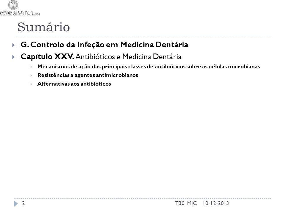 Antibióticos Agentes antimicrobianos vs antimicóticos vs antivirais Primeiros eram de origem microbiana Hoje há totalmente sintéticos Quinolonas (1960) Oxazolidinonas (2000) Sulfanolamidas (1930) 10-12-2013T30 MJC3
