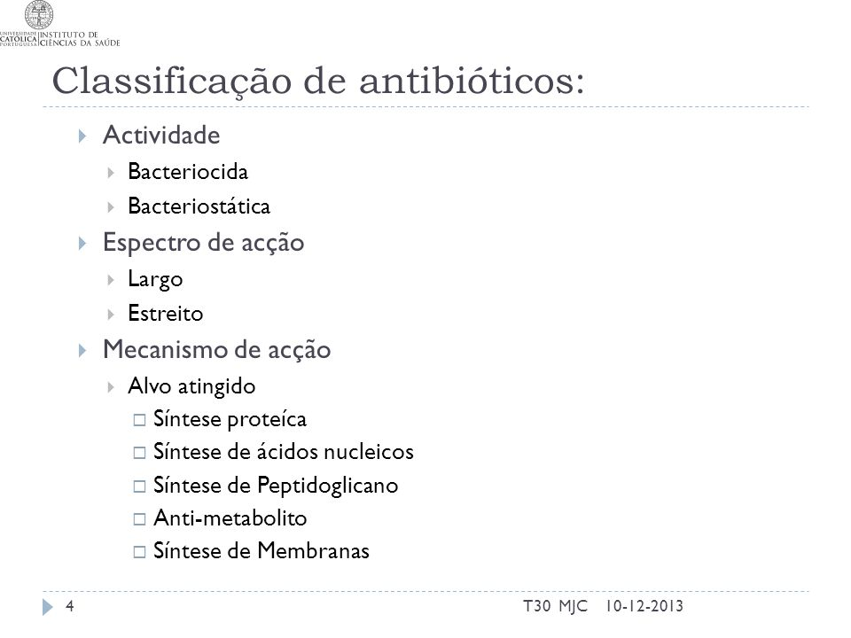 Classificação de antibióticos: Actividade Bacteriocida Bacteriostática Espectro de acção Largo Estreito Mecanismo de acção Alvo atingido Síntese prote