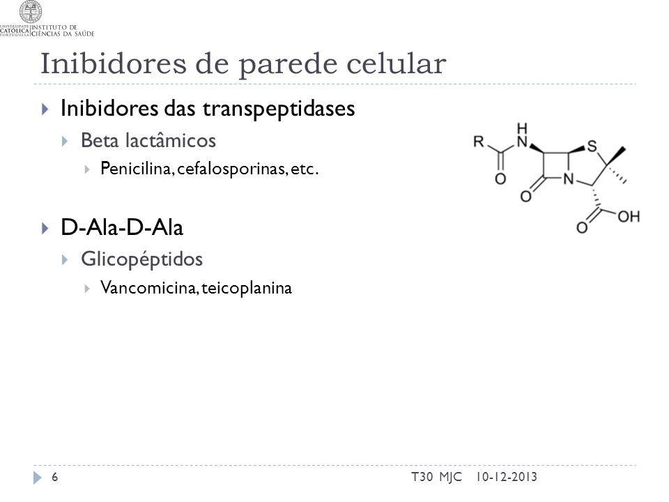 Inibidores de parede celular Inibidores das transpeptidases Beta lactâmicos Penicilina, cefalosporinas, etc. D-Ala-D-Ala Glicopéptidos Vancomicina, te
