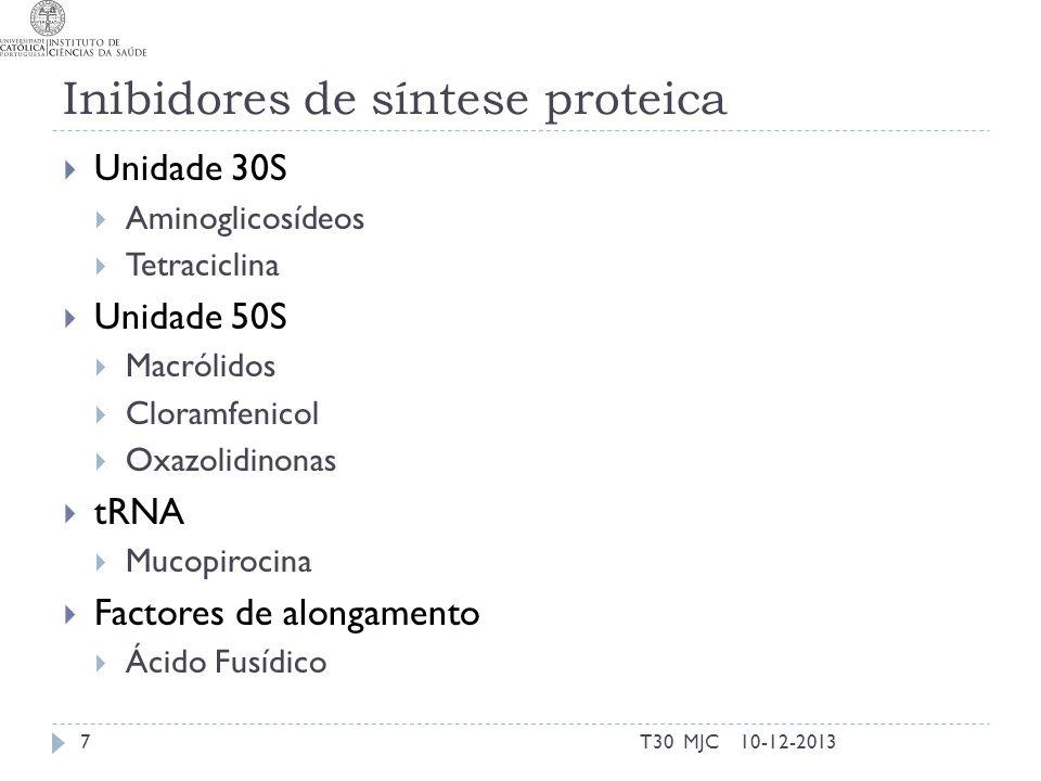 Inibidores de síntese proteica Unidade 30S Aminoglicosídeos Tetraciclina Unidade 50S Macrólidos Cloramfenicol Oxazolidinonas tRNA Mucopirocina Factore