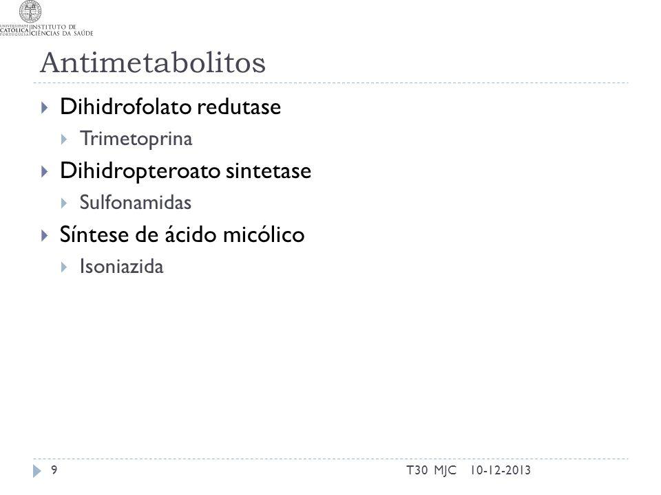 Antimetabolitos Dihidrofolato redutase Trimetoprina Dihidropteroato sintetase Sulfonamidas Síntese de ácido micólico Isoniazida 10-12-2013T30 MJC9