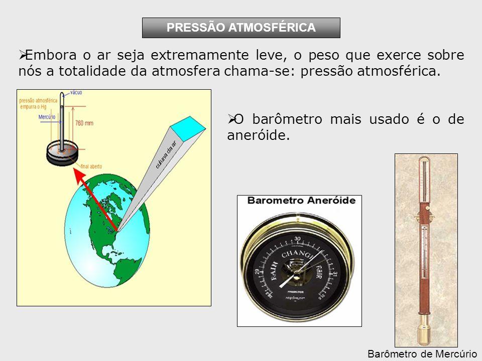 Embora o ar seja extremamente leve, o peso que exerce sobre nós a totalidade da atmosfera chama-se: pressão atmosférica.
