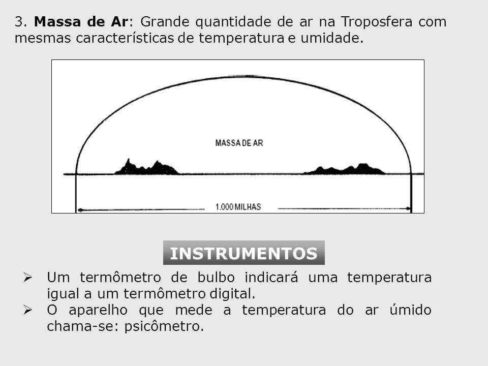3. Massa de Ar: Grande quantidade de ar na Troposfera com mesmas características de temperatura e umidade. Um termômetro de bulbo indicará uma tempera