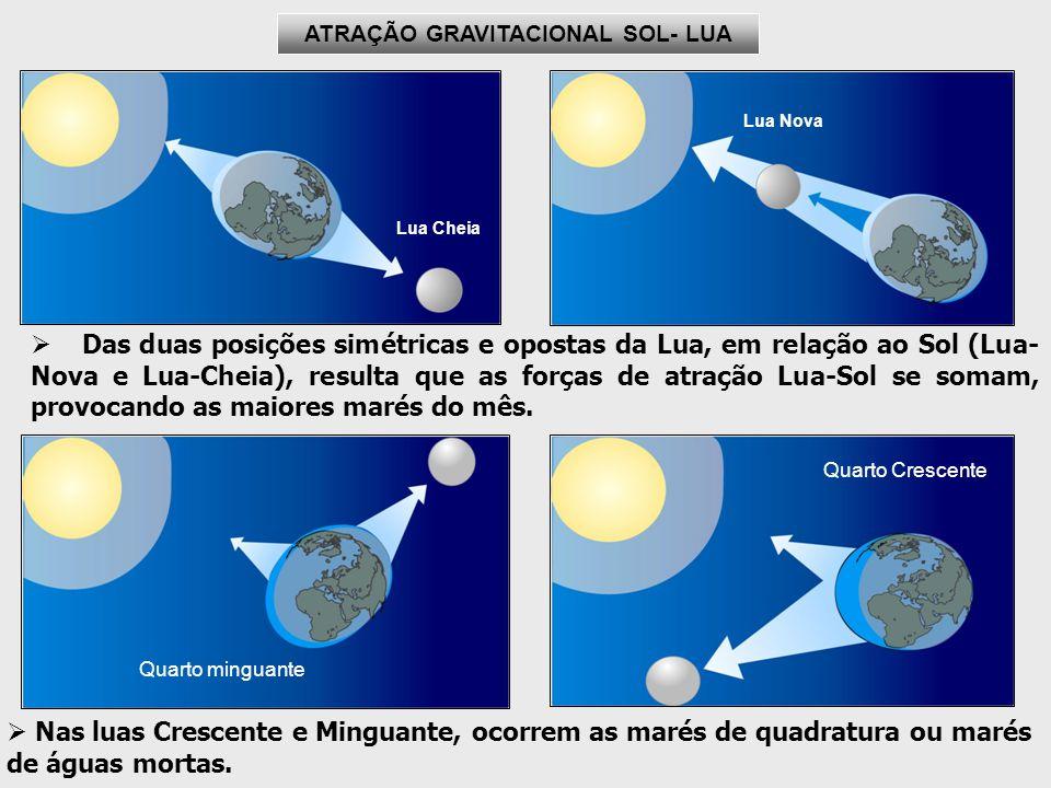 Lua Nova Das duas posições simétricas e opostas da Lua, em relação ao Sol (Lua- Nova e Lua-Cheia), resulta que as forças de atração Lua-Sol se somam, provocando as maiores marés do mês.