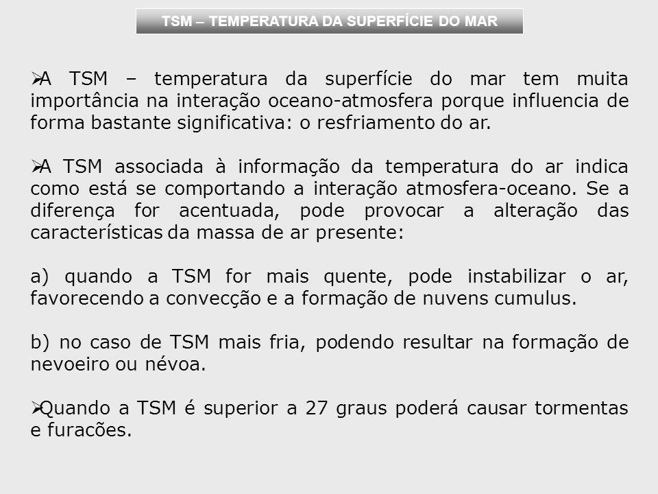 TSM – TEMPERATURA DA SUPERFÍCIE DO MAR A TSM – temperatura da superfície do mar tem muita importância na interação oceano-atmosfera porque influencia de forma bastante significativa: o resfriamento do ar.