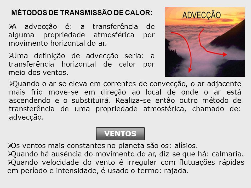 A advecção é: a transferência de alguma propriedade atmosférica por movimento horizontal do ar.