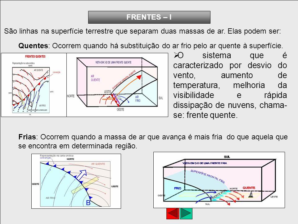 Oclusas: Ocorrem quando uma frente fria alcança um frente quente e uma das frentes deixa de ter contato com o solo e se eleva sobre a superfície.