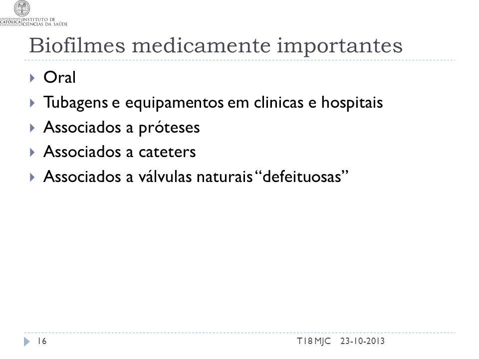 Biofilmes medicamente importantes Oral Tubagens e equipamentos em clinicas e hospitais Associados a próteses Associados a cateters Associados a válvul