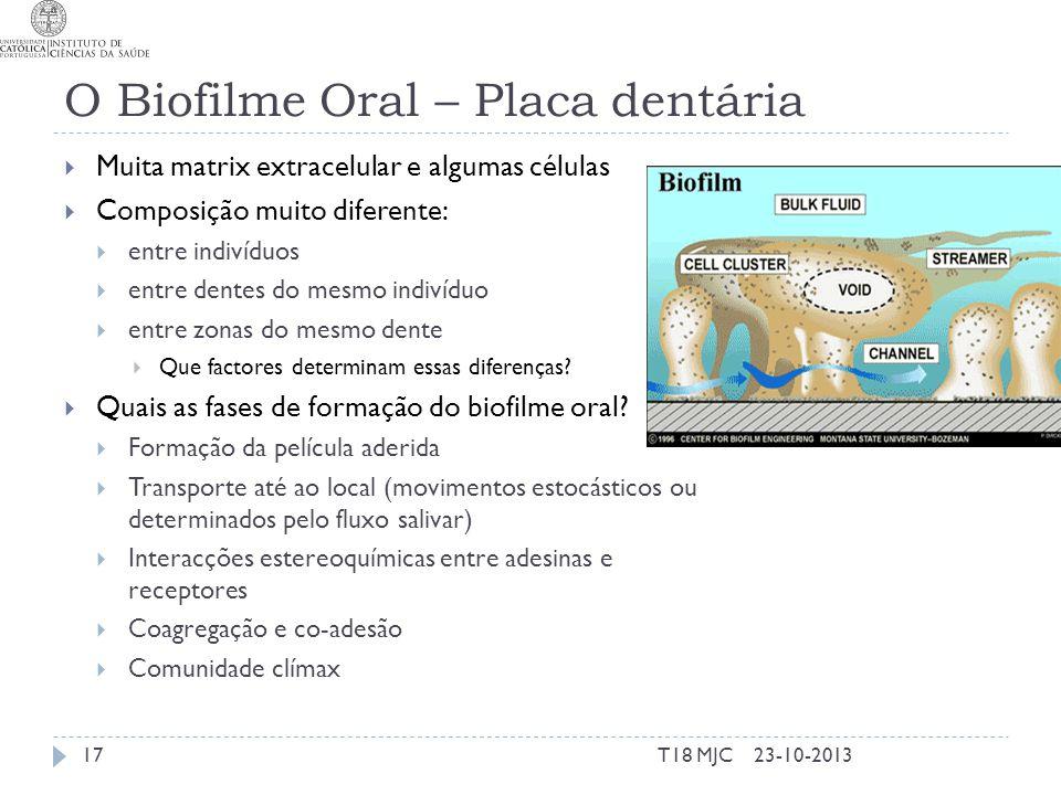 O Biofilme Oral – Placa dentária Muita matrix extracelular e algumas células Composição muito diferente: entre indivíduos entre dentes do mesmo indiví