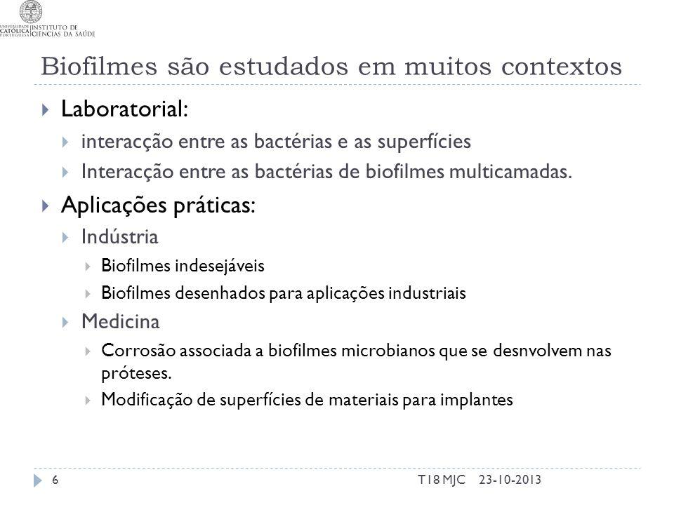 Biofilmes são estudados em muitos contextos Laboratorial: interacção entre as bactérias e as superfícies Interacção entre as bactérias de biofilmes mu