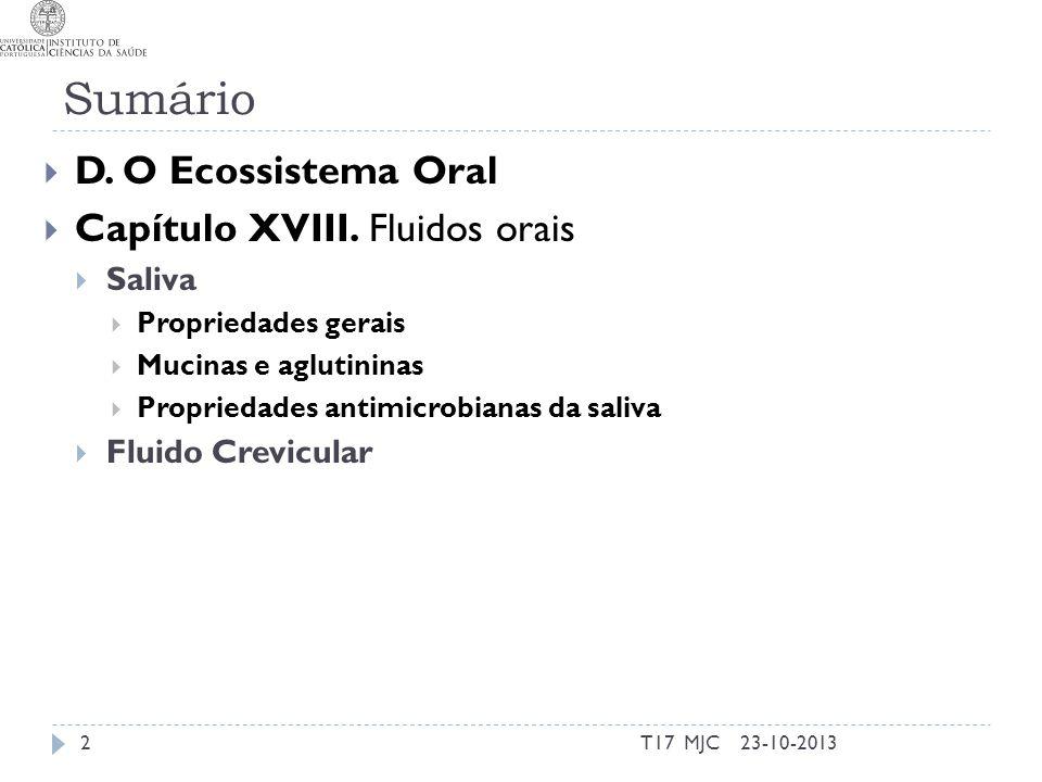 Sumário T17 MJC2 D. O Ecossistema Oral Capítulo XVIII. Fluidos orais Saliva Propriedades gerais Mucinas e aglutininas Propriedades antimicrobianas da