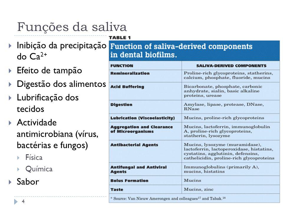Funções da saliva Inibição da precipitação do Ca 2+ Efeito de tampão Digestão dos alimentos Lubrificação dos tecidos Actividade antimicrobiana (vírus,