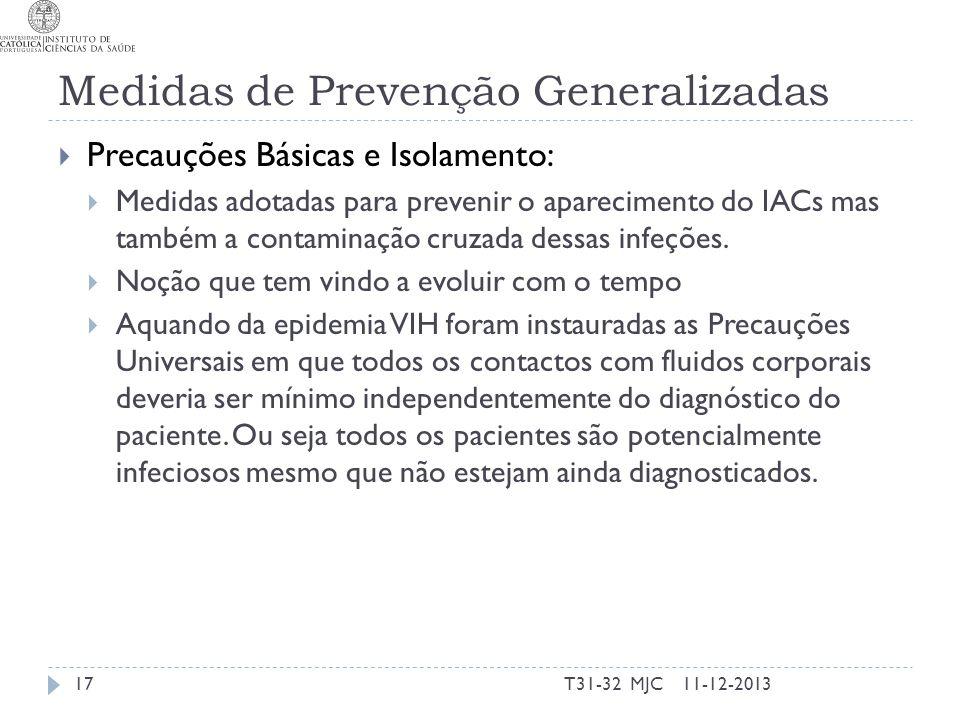 Medidas de Prevenção Generalizadas Precauções Básicas e Isolamento: Medidas adotadas para prevenir o aparecimento do IACs mas também a contaminação cr