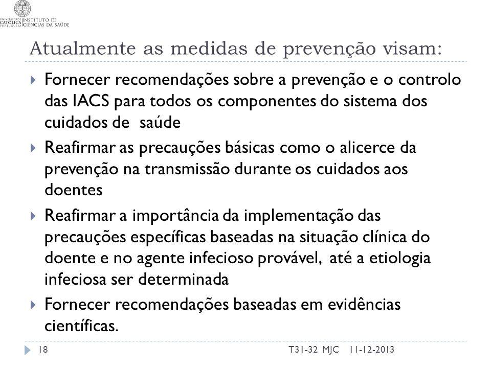 Atualmente as medidas de prevenção visam: Fornecer recomendações sobre a prevenção e o controlo das IACS para todos os componentes do sistema dos cuid