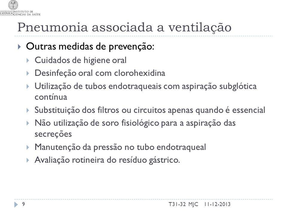Pneumonia associada a ventilação Outras medidas de prevenção: Cuidados de higiene oral Desinfeção oral com clorohexidina Utilização de tubos endotraqu
