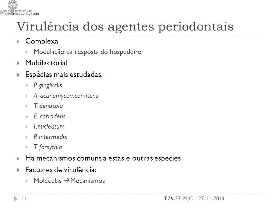 Virulência dos agentes periodontais Complexa Modulação da resposta do hospedeiro Multifactorial Espécies mais estudadas: P. gingivalis A. actinomycemc