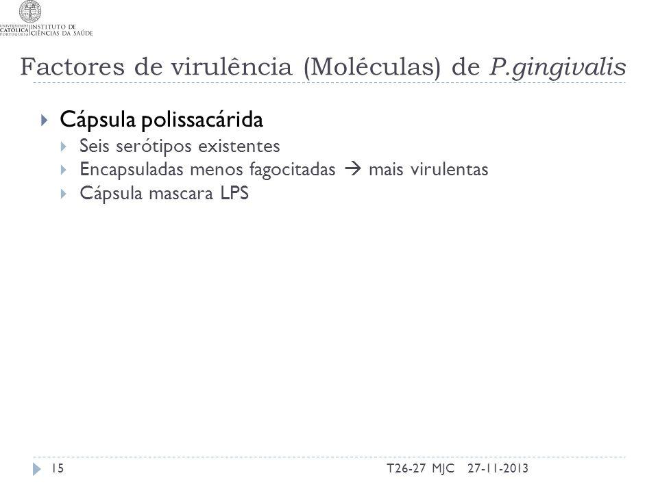 Cápsula polissacárida Seis serótipos existentes Encapsuladas menos fagocitadas mais virulentas Cápsula mascara LPS 27-11-201315T26-27 MJC Factores de