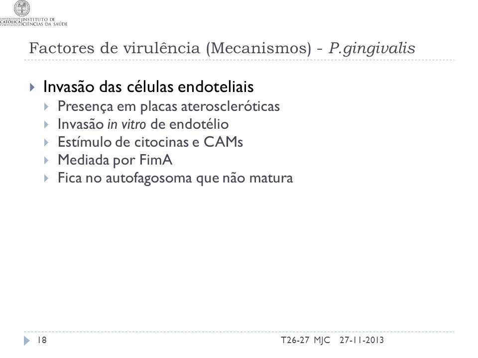 Factores de virulência (Mecanismos) - P.gingivalis Invasão das células endoteliais Presença em placas ateroscleróticas Invasão in vitro de endotélio E