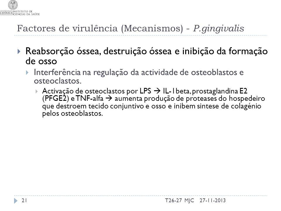 Factores de virulência (Mecanismos) - P.gingivalis Reabsorção óssea, destruição óssea e inibição da formação de osso Interferência na regulação da act