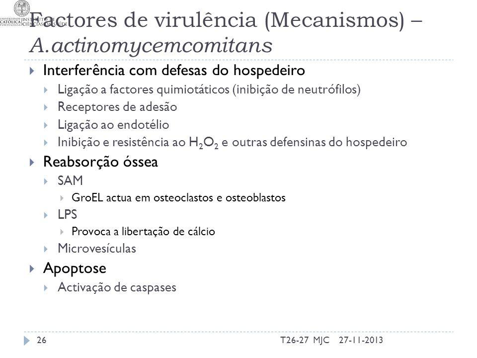 Factores de virulência (Mecanismos) – A.actinomycemcomitans Interferência com defesas do hospedeiro Ligação a factores quimiotáticos (inibição de neut